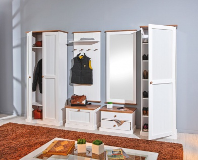 6 tlg. Garderobe Garderobenset Landhausstil Massivholz 2-farbig sepia weiß Holzmaserung L-Wendy-G1