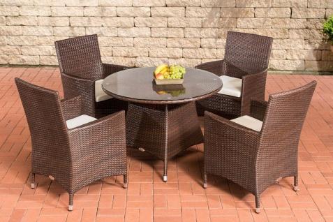 5-tlg. Dining Set Sitzgruppe 4x Gartensessel Tisch Ø 100 cm Rattan 4 Farben CL-Santo