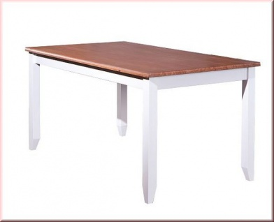 Tisch Esstisch rechteckig Landhausstil Massivholz lackiert Farbmix sepia weiß Holzmaserung L-Wendy-1