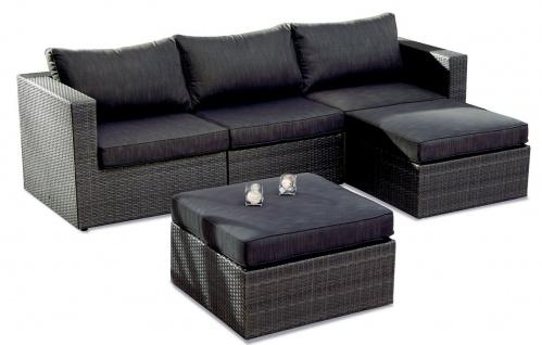 5-tlg Lounge Sitzgruppe variabel Sofa Hocker Beistelltisch inkl. Auflagen anthrazit BF-Accio