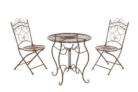 3-tlg. Sitzgruppe Metall 6 Farben antik Nostalgie Eisen Gartenmöbel CL-Ines