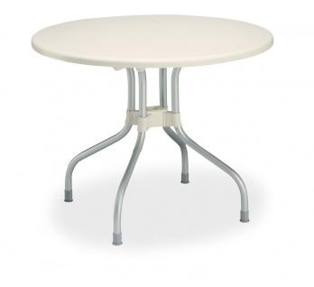 Gartentisch 2 Varianten rund Ø 95 cm eckig 80 x 80 cm Klapptisch Tisch klappbar elfenbein BF-Viola