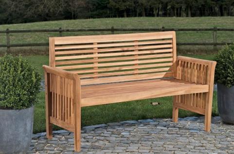 Gartenbank Teakholz Bank massiv Holz Länge wählbar 120 150 180 200 220 cm CL-Amy