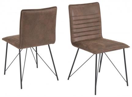 2er Stuhl Set Microfaser 2 Vintage Farben modernes Metallgestell R-Mary