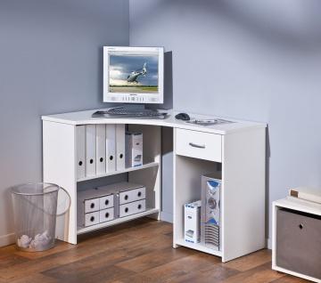 Eckschreibtisch Schreibtisch Schublade 2 Farben Sonoma-Eiche weiß L-Capri - Vorschau 2
