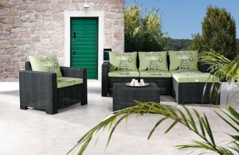 4-tlg Lounge Set Sitzgruppe inkl. Kissen Sessel 3-Sitzer Hocker Couchtisch Rattan-Optik BF-Kuba