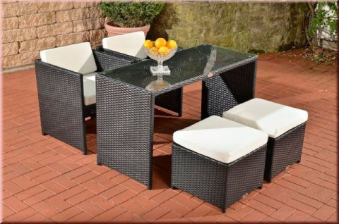 5-tlg Dining Lounge Sitzgruppe 2 Sessel 2 Hocker Tisch Kissen Geflecht 4 Farben CL-Talia