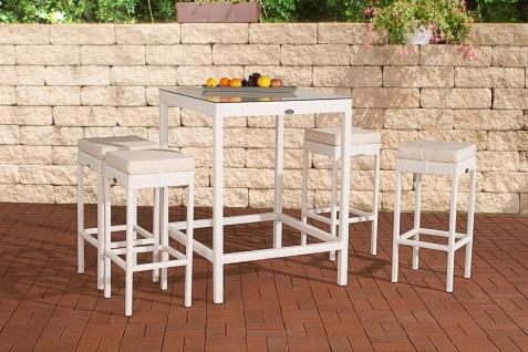 5-tlg. Gartenbar Sitzgruppe inkl. Sitzkissen Rattan 4 Farben 4 Barhocker Stehtisch CL-Antalya