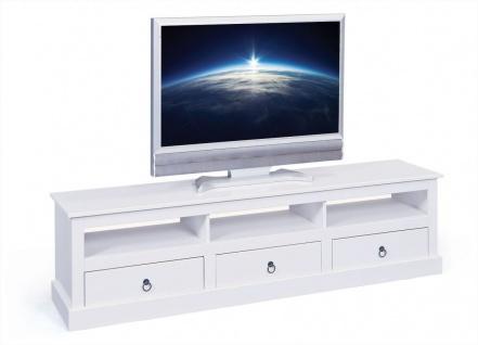 TV Lowboard Fernsehtisch 3 offene Fächer 3 Schubladen Landhausstil Massivholz weiß L-Palmas 10