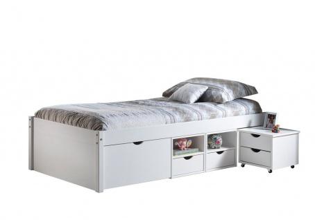 Bett Doppelbett Komforthöhe 5 Größen Massivholz weiß Lattenrost Schubkästen Nachttisch L-Telli - Vorschau 4