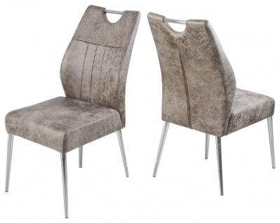 4er Set 4-Fuß Stuhl Federkern-Polsterung 2 Vintage Farben beige anthrazit verchromt R-Mainau