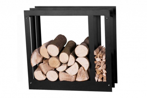 Brennholzregal 2 Größen Stahl schwarz Kaminholzständer 2 Fächer 70 cm hoch N-BR-124