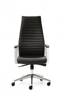 Bürostuhl Leder schwarz Drehsessel Synchronmechanik Gewichtseinstellung M-Chef - Vorschau 2