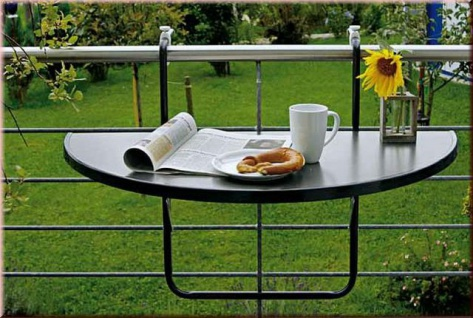 Balkon-Hängetisch Hängetisch klappbar Gartentisch halbrund 100 x 50 cm BF-Boy-1