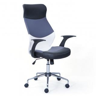 Schreibtischstuhl Bürostuhl weiß/grau/schwarz höhenverstellbar Wippmechanik L-Liza