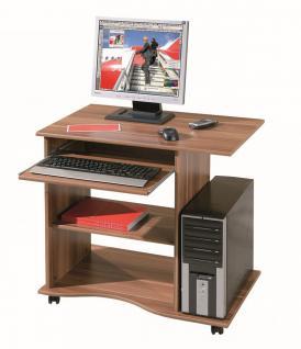 Computertisch Schreibtisch rollbar 3 Farben Sonoma Weiß Walnuß L-Dora - Vorschau 2