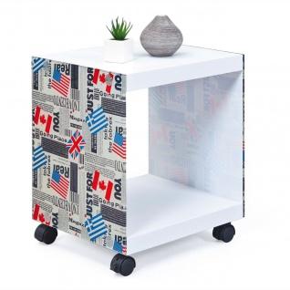 Beistelltisch Cube 4 Rollen arretierbar Rollwagen weiß Glas-Motiv Fahnen L-Flags