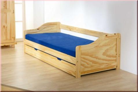 Bett ausziehbar Jugendbett 2 Farben 2 Längen Lattenrost Massivholz L-Lione/Lore