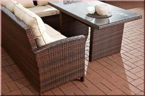 3-tlg Lounge Sitzgruppe Bank Eckbank Auflagen Tisch Rattan 4 Farben CL-Mika - Vorschau 4