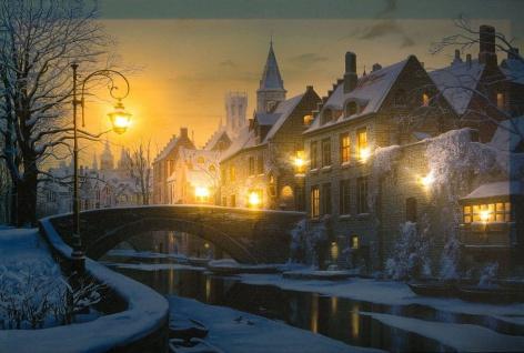 LED-Bild Stadt im Schnee 7 LED Flackerlicht Leinwand 60 x 40 cm Winterdorf H-Winterabend