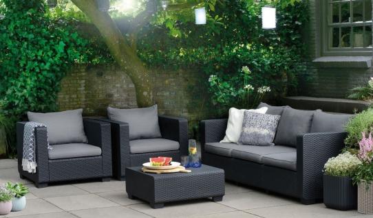 4-tlg Lounge Sitzgruppe Kissen 2 Sessel 3-Sitzer Sofa Couchtisch Rattan-Optik BF-Baila