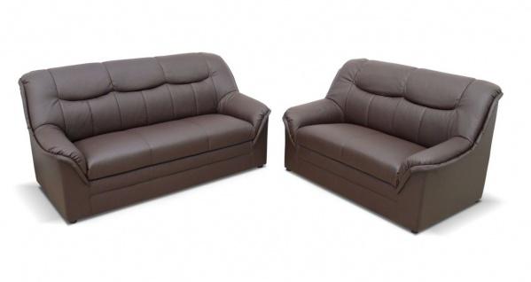 2-teilige Polstergarnitur 2-Sitzer Sofa 3-Sitzer Couch Federkern 3 Farben Kunstleder DO-Boston-3 - Vorschau 1