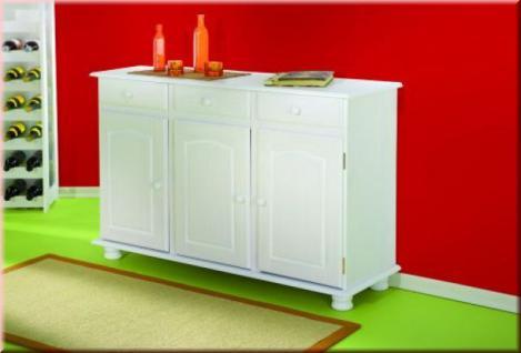 Sideboard Kommode Landhausstil Massivholz Kiefer weiß lackiert L-Life