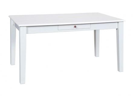 Tisch Esstisch erweiterbar rechteckig Landhausstil Massivholz weiß Holzmaserung sichtbar L-Wendy-17