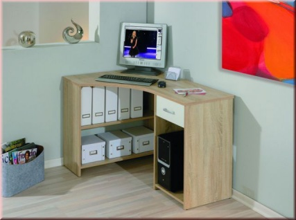 Eckschreibtisch Schreibtisch Schublade 2 Farben Sonoma-Eiche weiß L-Capri - Vorschau 1