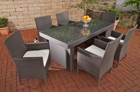 7 tlg Dining Lounge Sitzgruppe 6x Sessel inkl. Auflagen Tisch Rattan 7 Farben CL-Alisa