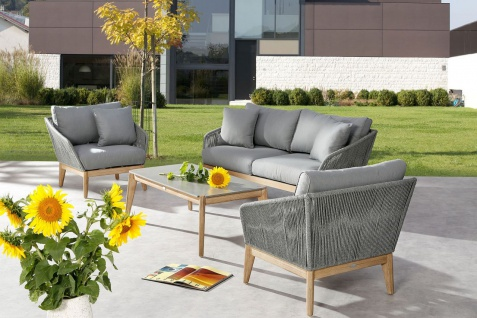 4-tlg Lounge Set 2er Sofa 2x Sessel inkl. Kissen Loungetisch Grandisholz Fishbone Geflecht BF-Santos