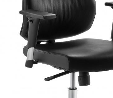Bürostuhl Echt Leder schwarz Armlehnen höhenverstellbar Kopfstütze Synchronmechanik M-Best - Vorschau 5