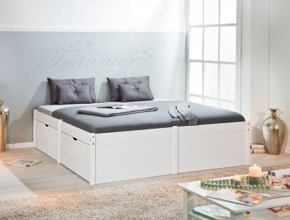 Bett Doppelbett 3 Größen 90/140/180 x 200 cm inkl. Lattenrost Massivholz 2 Farben L-Lazise
