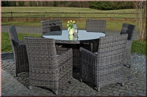 7-tlg Dining Lounge Sitzgruppe 6x Sessel Kissen XXL Tisch Ø 131 cm Rattan grau meliert CL-Latina