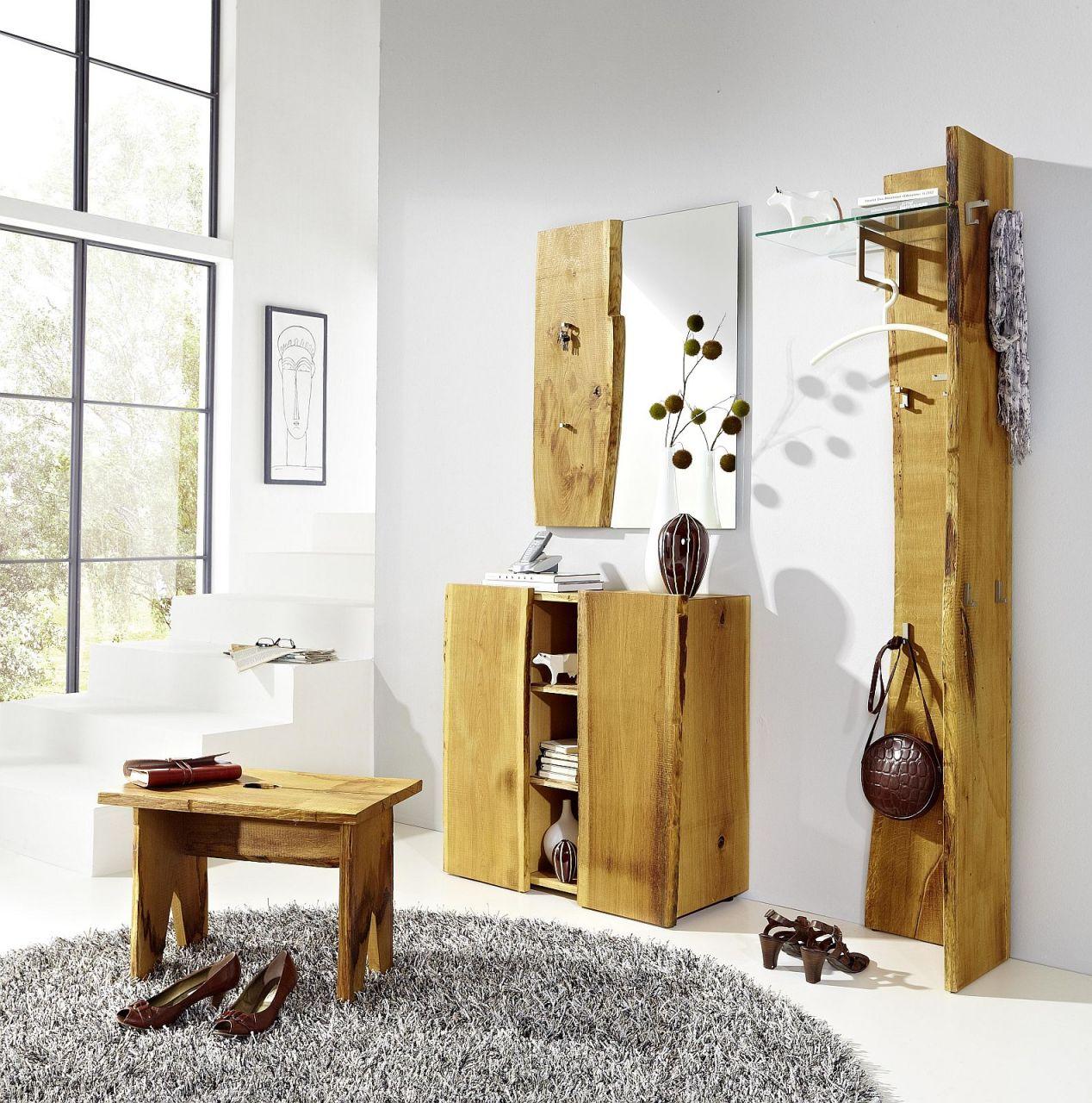 Garderobenset 4 tlg Landhausstil Garderobe Eiche sägerau AW-Wildtree-S-E