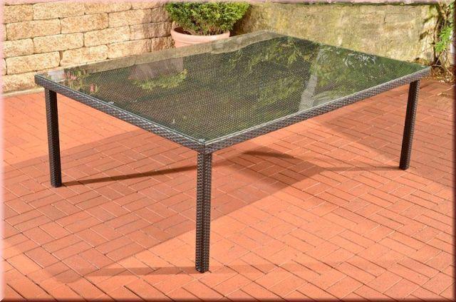 Gartentisch Xxl Tisch 4 Farben 210 X 150 Cm Rattan Glasplatte