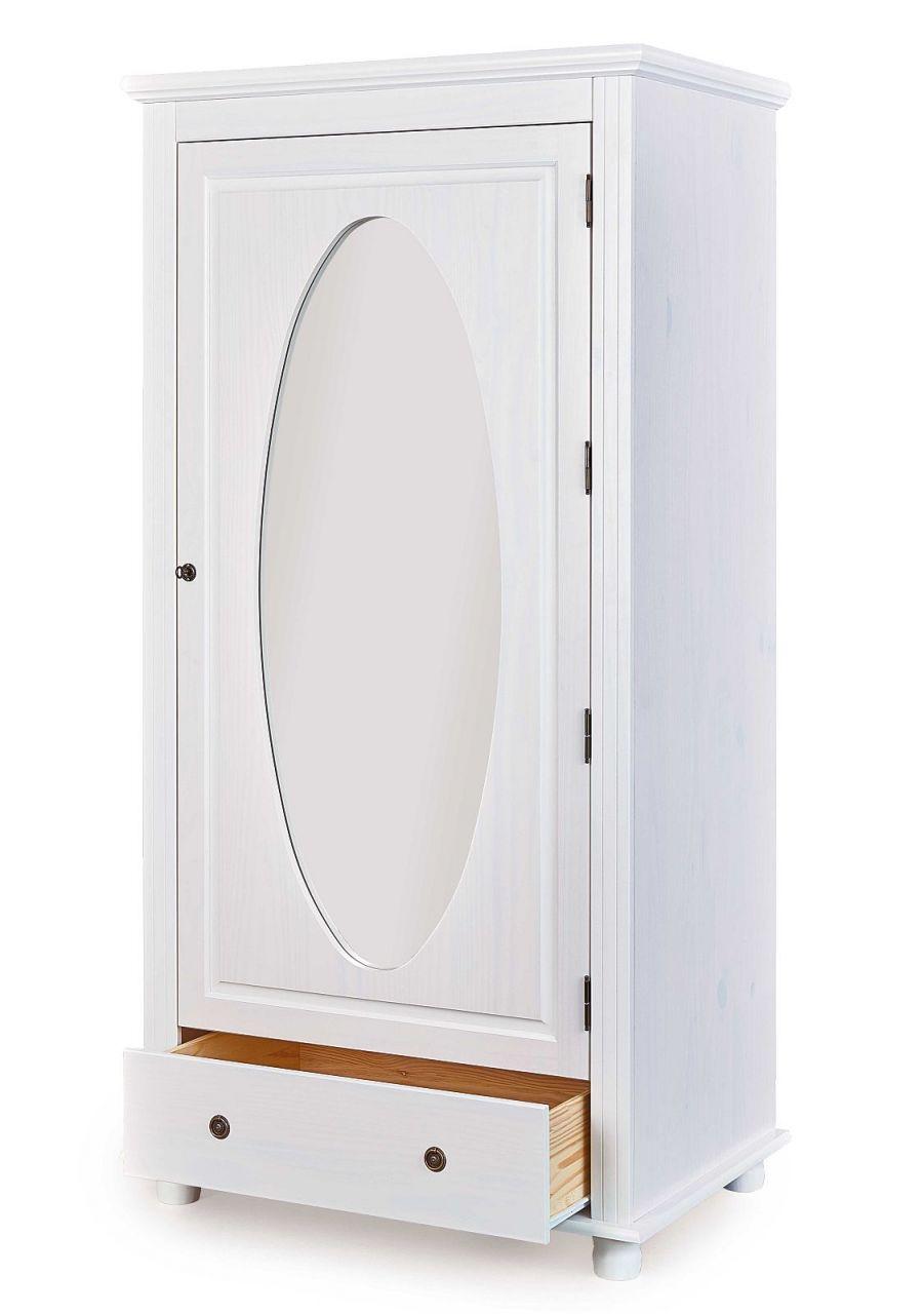 Dielenschrank 1 Turig Spiegel Massivholz Weiss Landhausstil