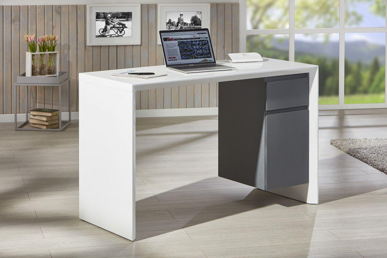 Schreibtisch 1 Schublade 1 Tür 120 X 50 Cm Hochglanz Weiß