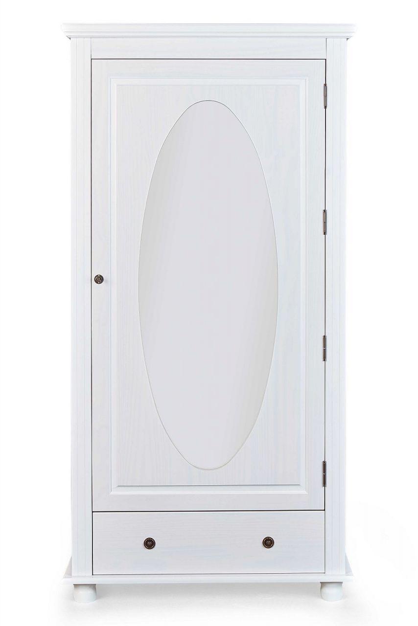 Dielenschrank 1 Türig Spiegel Massivholz Weiß Landhausstil Garderobenschrank L Pira