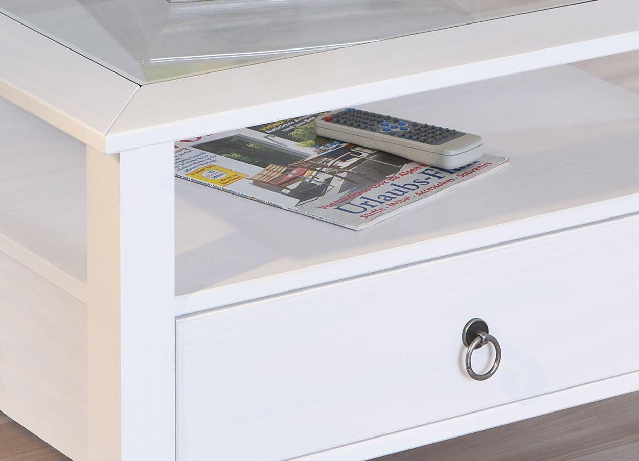 couchtisch glasplatte ablage schublade landhausstil. Black Bedroom Furniture Sets. Home Design Ideas