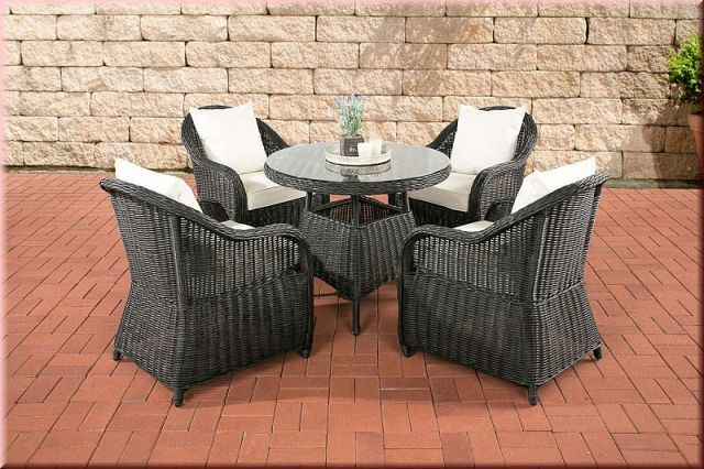 5 tlg sitzgruppe dining lounge gartenm bel sessel kissen 5 farben tisch rund rattan schwarz cl. Black Bedroom Furniture Sets. Home Design Ideas