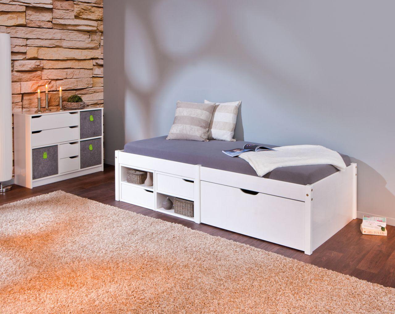 Bett Kinderbett 2 Farben Inkl Schubkästen Lattenrost Massivholz
