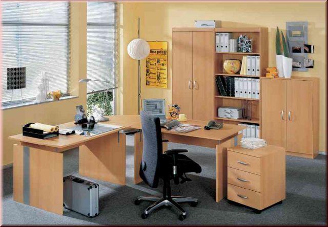 Büromöbel 7-teilig komplett Büro Buche Büroeinrichtung S-W-Aktion-1 ...