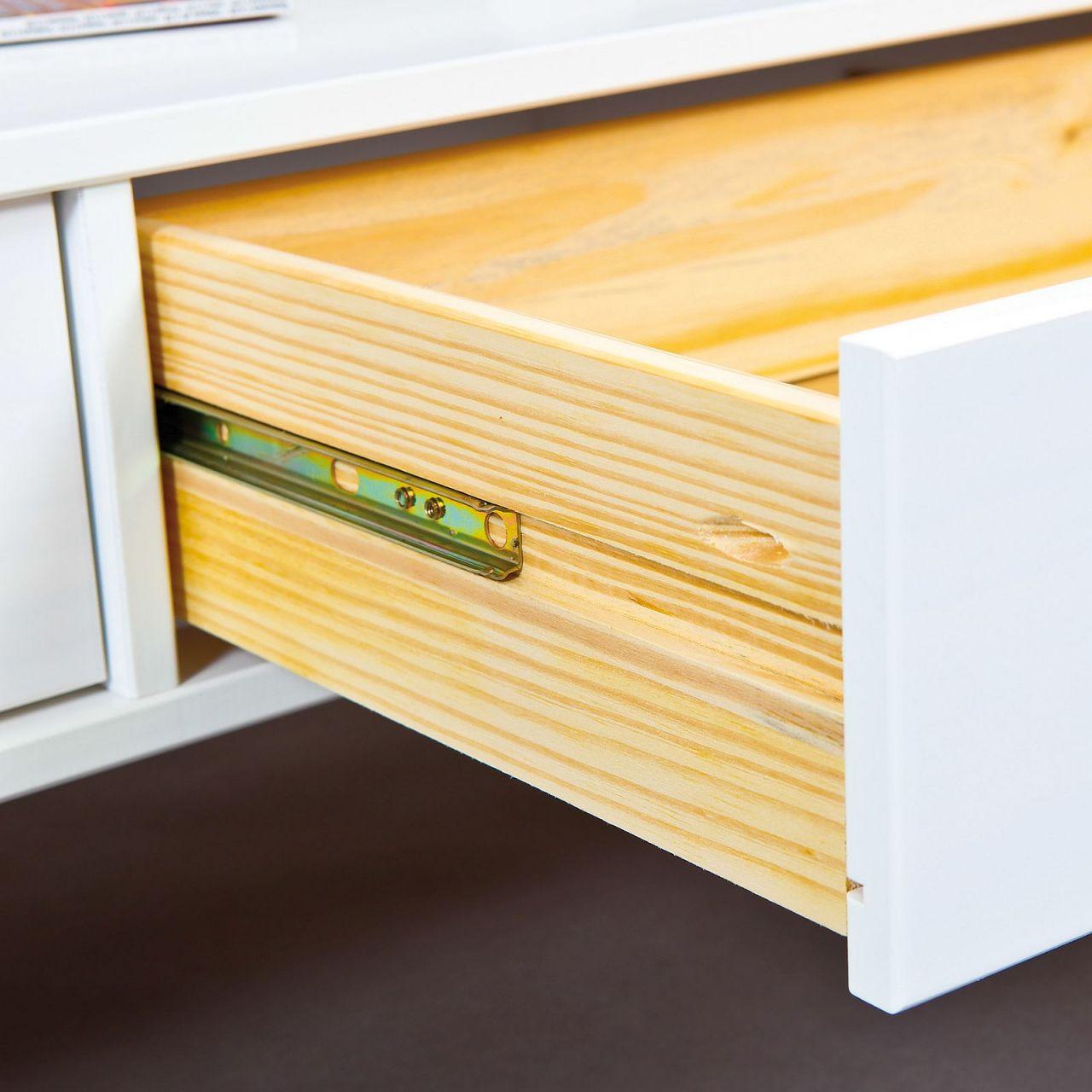 Couchtisch Glasplatte Ablage 2 Schubladen Landhausstil Massivholz