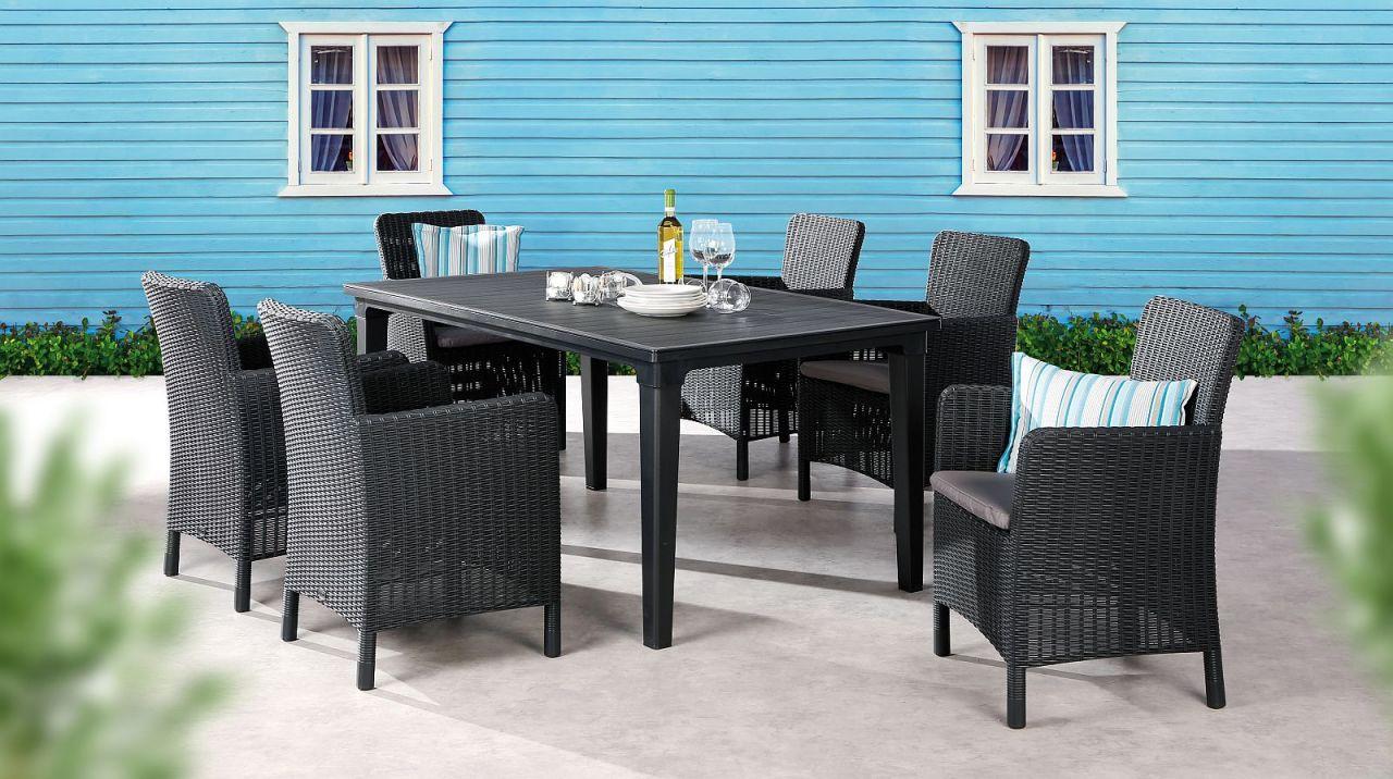 7 Tlg Dining Lounge Sitzgruppe 6x Gartensessel Rattan Optik Inkl