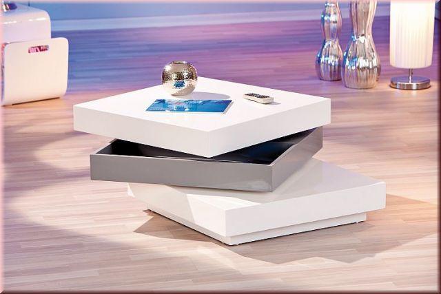 Couchtisch 2 Tischplatten Drehbar 3 Ebenen Stauraum Hochglanz Weiß