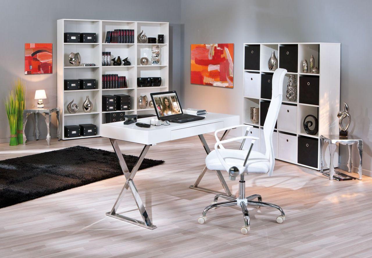 computertisch exklusiver schreibtisch tastaturauszug hochglanz wei metall verchromt l greato. Black Bedroom Furniture Sets. Home Design Ideas