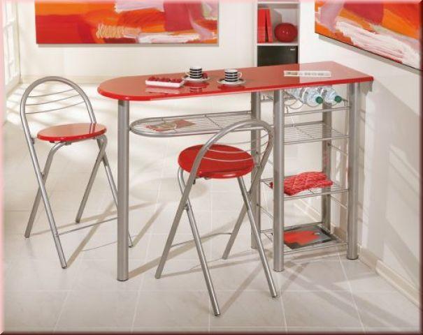 Küchenbar inkl. 2 Stühle Flaschenregal Ablagen hochglanz rot oder ...