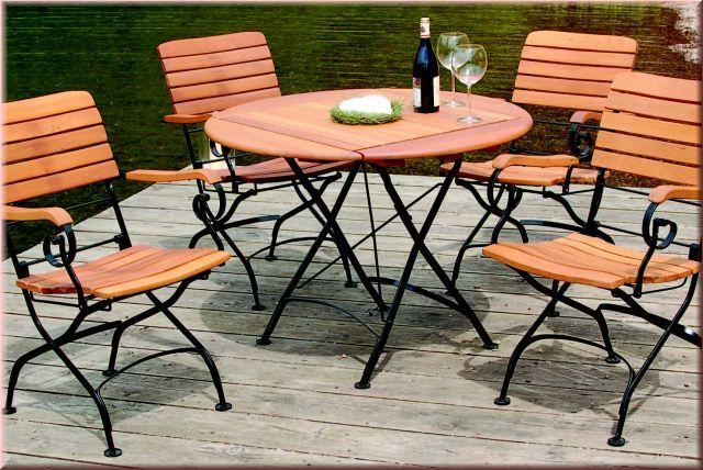 Klapptisch Gartentisch Rund O 100 Cm Robinie Massivholz 4 Farben Wh