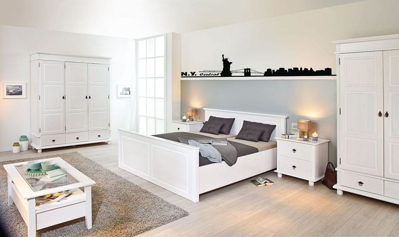 schrank garderobenschrank landhausstil massivholz 2 t rig wei 200 cm hoch l dank 2 kaufen bei. Black Bedroom Furniture Sets. Home Design Ideas